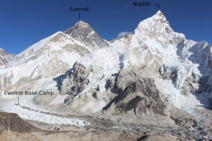 Everest Nuptse and Everst Base Camp (EBC)
