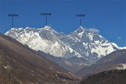 Nuptse, Everest, and Lhotse, from above Namche