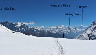 Chulu himalayan mountain range past Pisang Peak