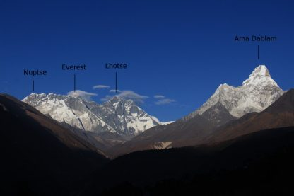 Nuptse, Everest, Lhotse, and Ama Dablam