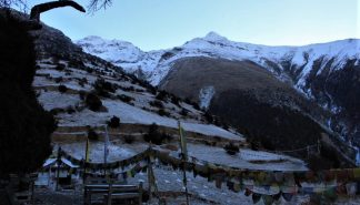 Pisang Peak and prayer flags
