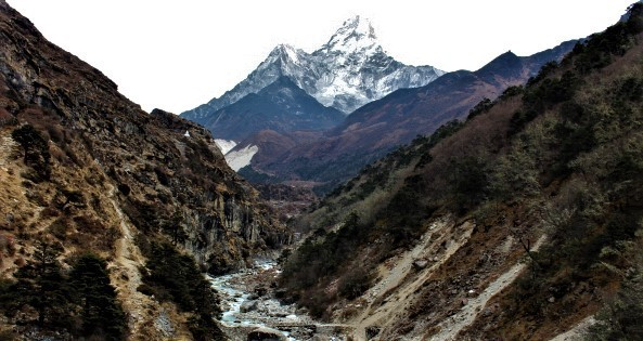 Dudh Koshi River and Amadablam